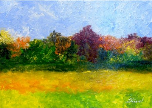 Jaasiel Barrientos - Landscape #2 - Oil on gallery wrapped canvas 18x24 $400