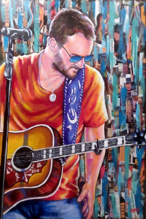 "Eric Church - Mixed Media on Canvas 36"" x 24"" $375"