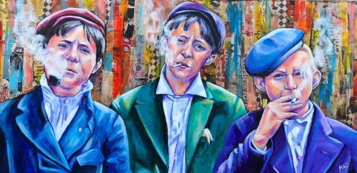 """Thea McElvey Dutch and the Boys - Mixed Media 24"""" x 48 $500"""