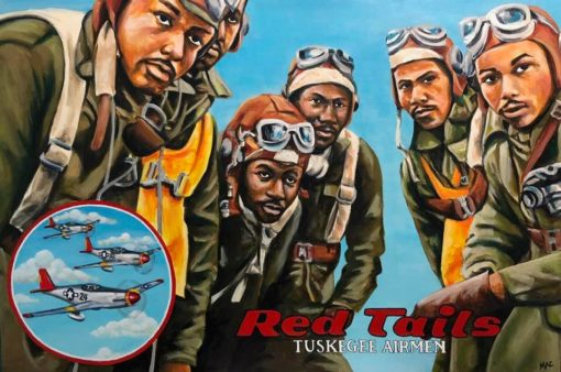"Thea McElvey - Tuskegee Airmen, Red Tails - Acrylic on Canvas 24"" x 36"" $400"