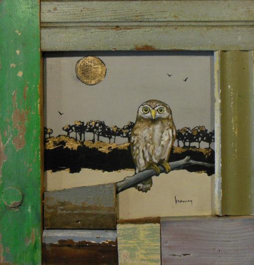 SOLD Kim Ramey Owl 15x16 Acrylics