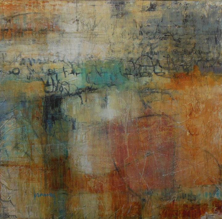Kim Ramey The Writing on the wall 36x36 Mixed Media $1200