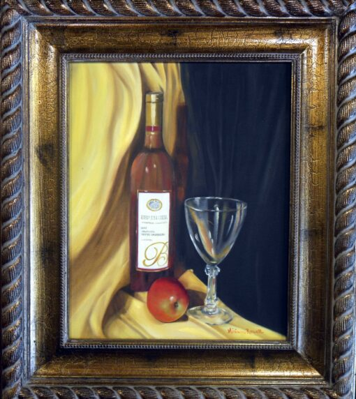 Still life wine and apple by Miriam Rowell 17x20 $325