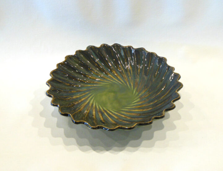 Spiral Bowl Dark Green by Nellie Ralat