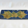 Confederate Rose Leaf Blue Rectangular Tray Large Blue