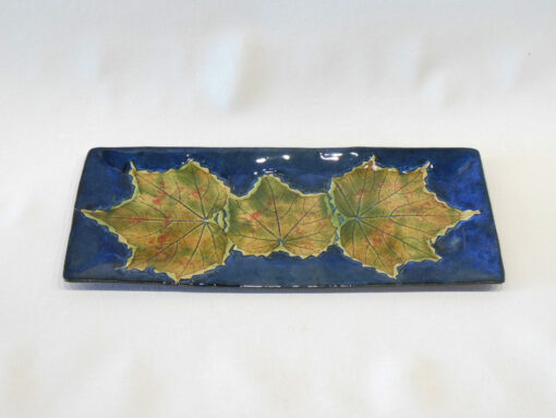 Confederate Rose Leaf Blue Rectangular Tray Large Blue