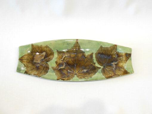 Confederate Rose Leaf Rectangular Tray Medium Green