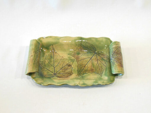 Confederate Rose Leaf tray with handles Small Green