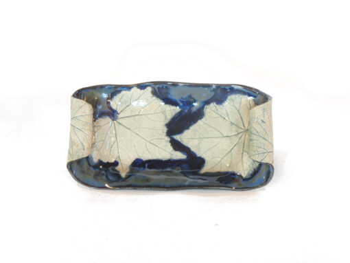Confederate Rose Leaf tray with curved handles Small Blue NAR006