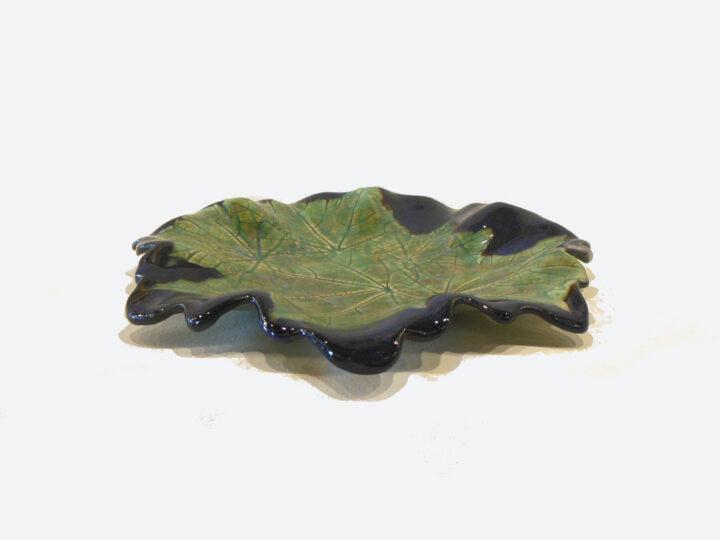 Confederate Rose Leaf Blue Round Tray NAR011