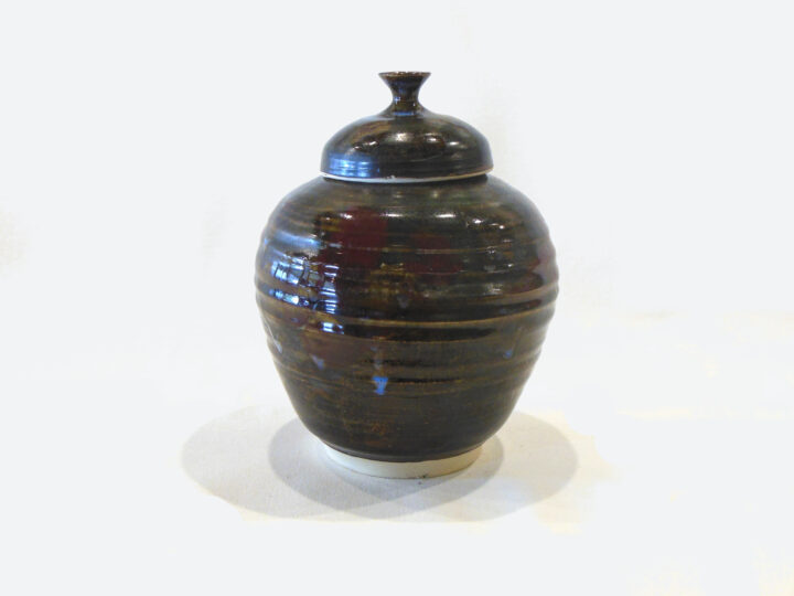 Brown Lidded Jar By Bobby V