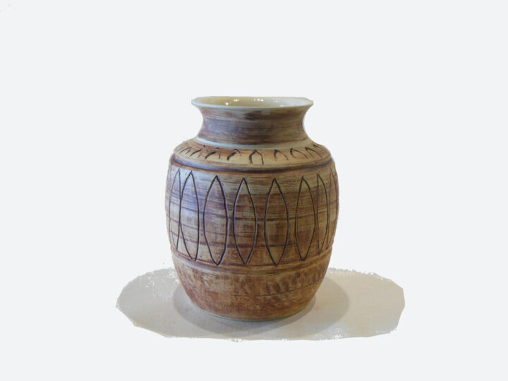 Incised Indian style vase by Bobby Vaillancourt