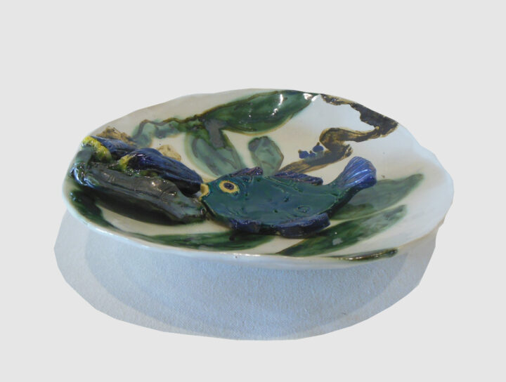Fish and Buds Bowl by Jeanine Bradfield 1 side