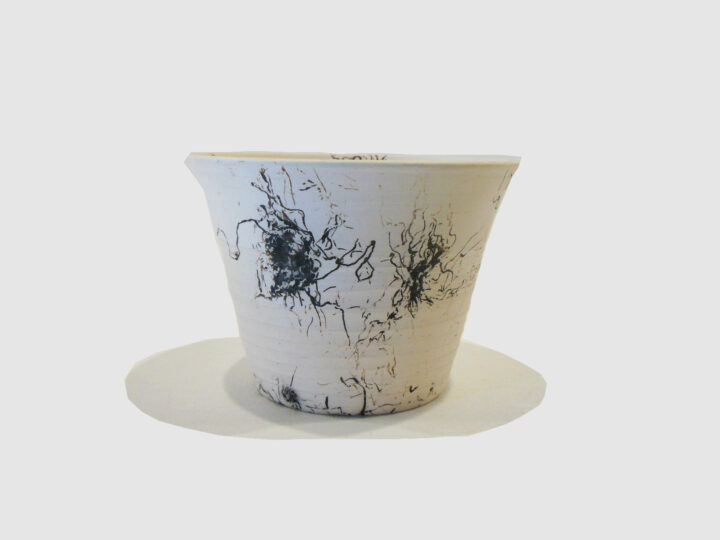 White Pot Horse Hair Raku by Bobby Vaillancourt front
