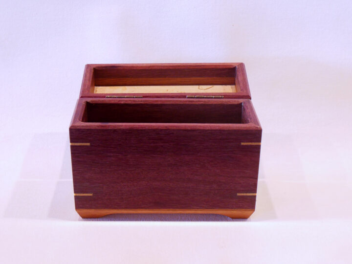 Half size recipe box by Mike Riedel front open empty