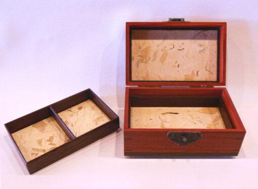 Keepsake box with latch by Mike Riedel open inside