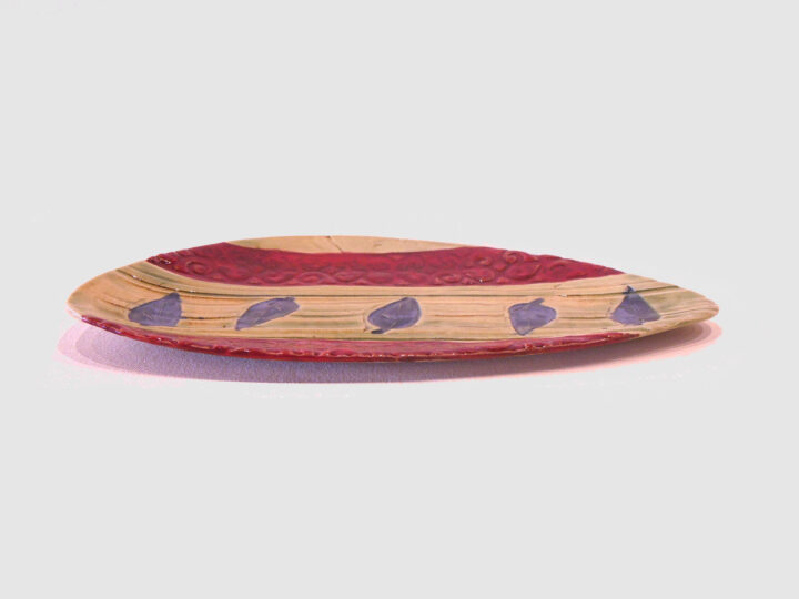 Red and Beige Tray by Nellie Ralat side