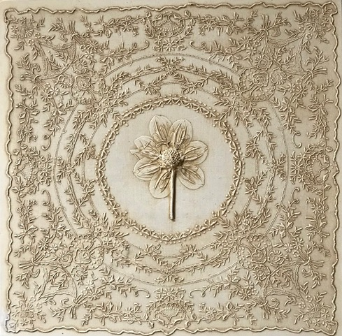 Promise of Love by Dianne Cutler Wedding Handkerchief and Dahlia