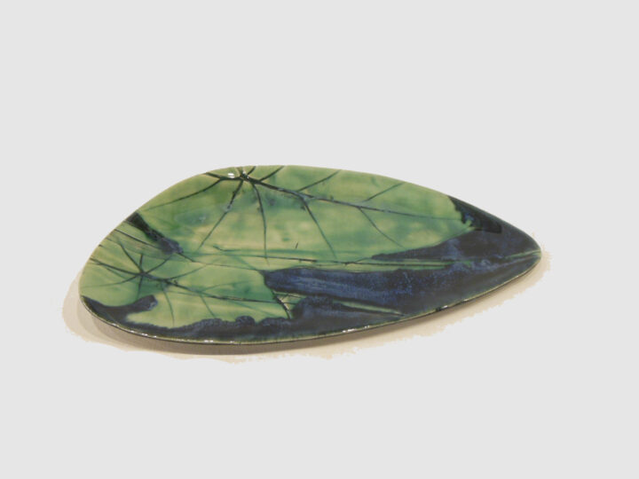 Dark Blue and Viridian Green with leaf by Nellie Ralat front