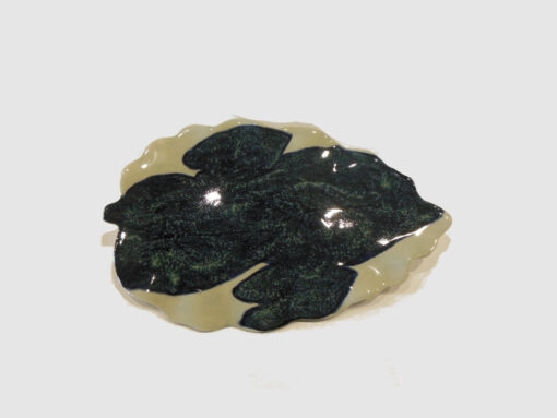 Large leaf shape tray with Dark Blue by Nellie Ralat front