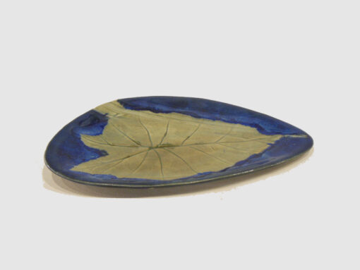 Olive Green and blue tray with leaf by Nellie Ralat front