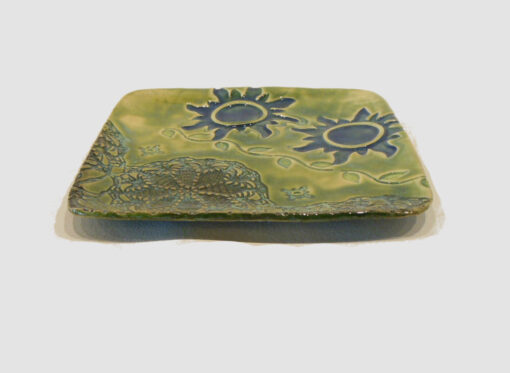 Square Tray Green with 2 blue suns by Nellie Ralat side