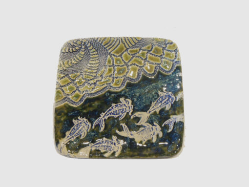 Square tray Dark blue with stamped goldfish by Nellie Ralat front
