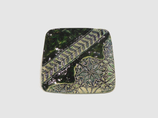 Square tray laced with Dark and light green by Nellie Ralat front
