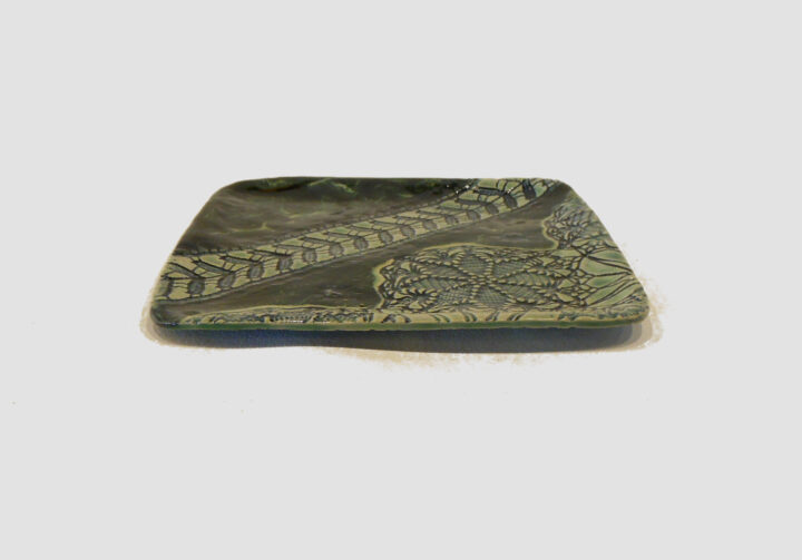 Square tray laced with Dark and light green by Nellie Ralat side