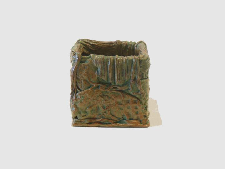 Cube Vase Sand Color by Janet McGregor Dunn front