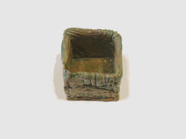 Cube Vase Sand Color by Janet McGregor Dunn inside